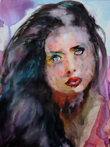Gesicht, Aquarellmalerei, Blick, Menschen, Haare, Frau