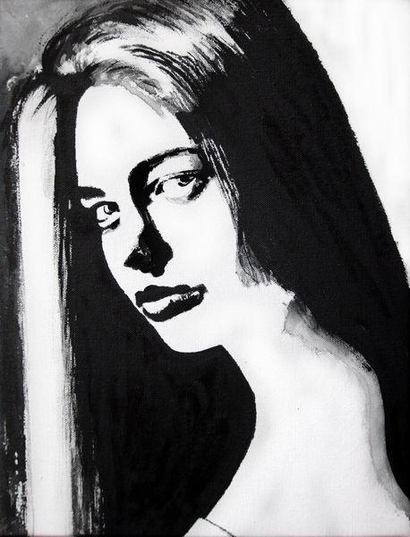 Gesicht, Monochrom, Blick, Schwarz, Menschen, Frau