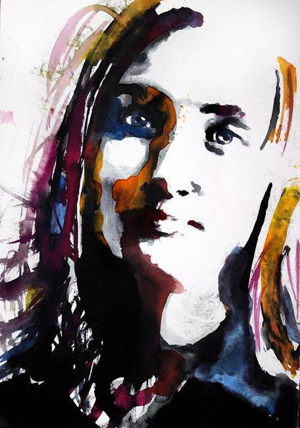 Menschen, Portrait, Blick, Frau, Gesicht, Aquarell
