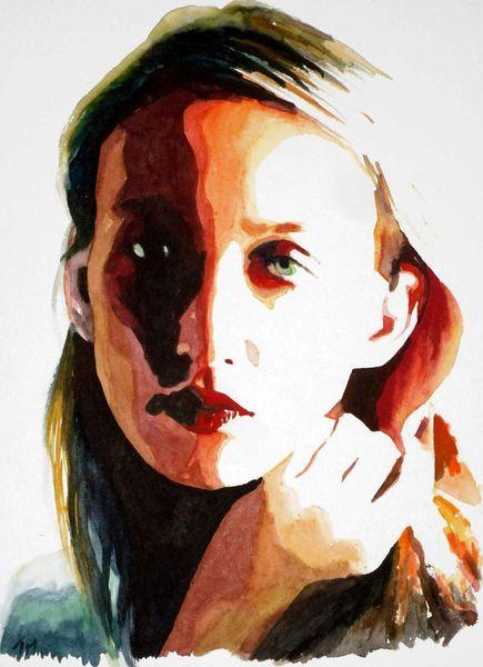 Farben, Portrait, Gesicht, Licht, Frau, Blick