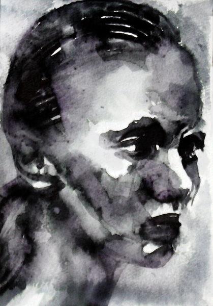 Frau, Portrait, Monochrom, Blick ausdruck, Aquarell