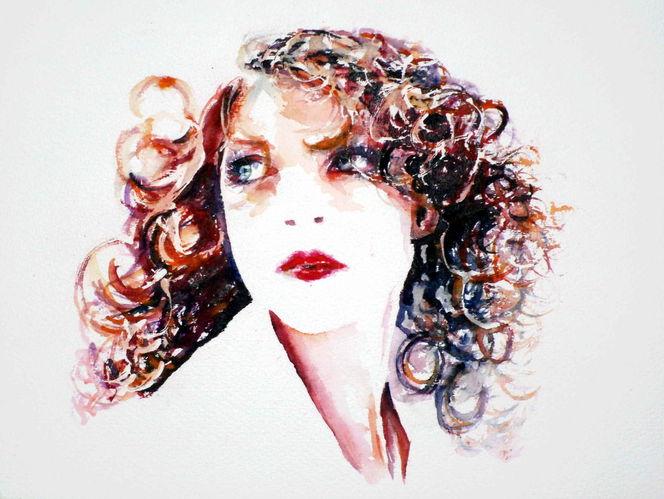 Ausdruck, Haare, Aquarellmalerei, Locken, Portrait, Blick