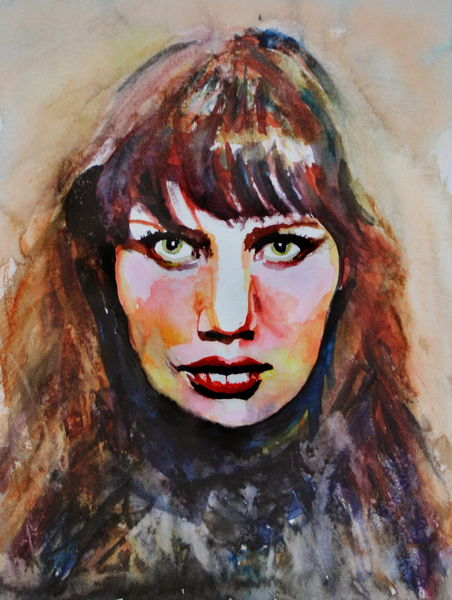 Portrait, Aquarellmalerei, Farben, Frau, Gesicht, Aquarell