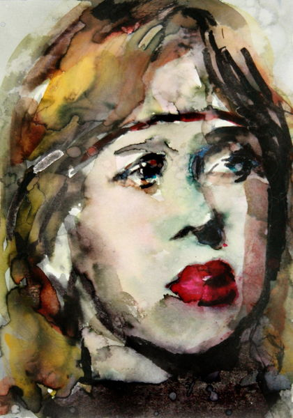 Aquarellmalerei, Blick, Frau, Gesicht, Portrait, Aquarell