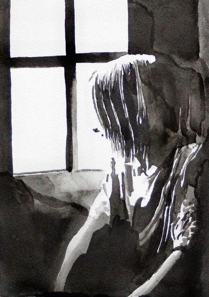 Monochrom, Licht, Frau, Blick, Fenster, Malerei
