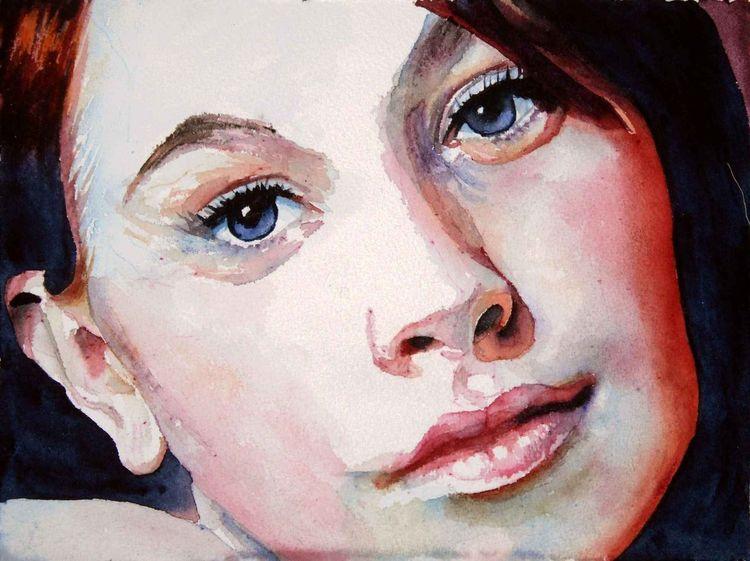 Portrait, Frau, Blick, Augen, Aquarellmalerei, Aquarell
