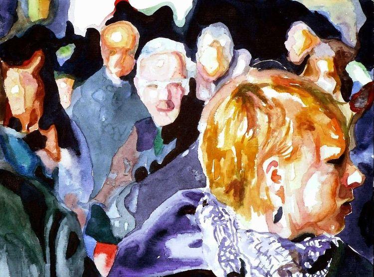 Blick, Aquarellmalerei, Licht, Frau, Menschen, Ausdruck