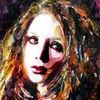 Frau, Farben, Blick, Portrait