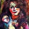 Farben, Menschen, Frau, Mischtechnik