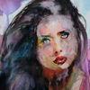 Gesicht, Aquarellmalerei, Blick, Menschen