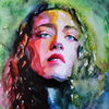 Farben, Gesicht, Frau, Aquarellmalerei