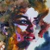 Farben, Frau, Gesicht, Menschen