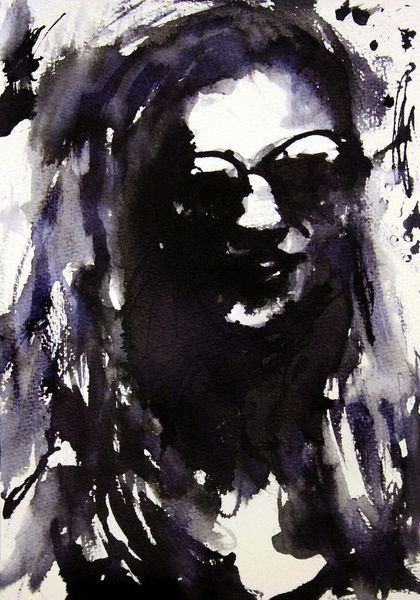 Portrait, Frau, Monochrome, Brille, Aquarell