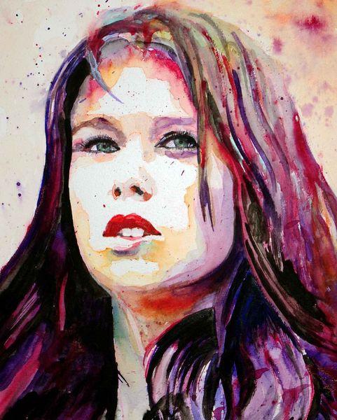 Mädchen, Portrait, Haare, Frau, Blick, Farben