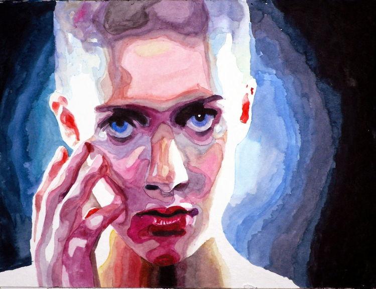Farben, Portrait, Licht, Blick, Aquarellmalerei, Ausdruck