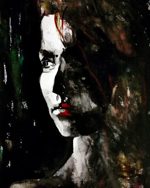 Portrait, Aquarellmalerei, Blick, Frau, Aquarell