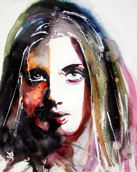 Frau, Blick, Gesicht, Portrait, Aquarell