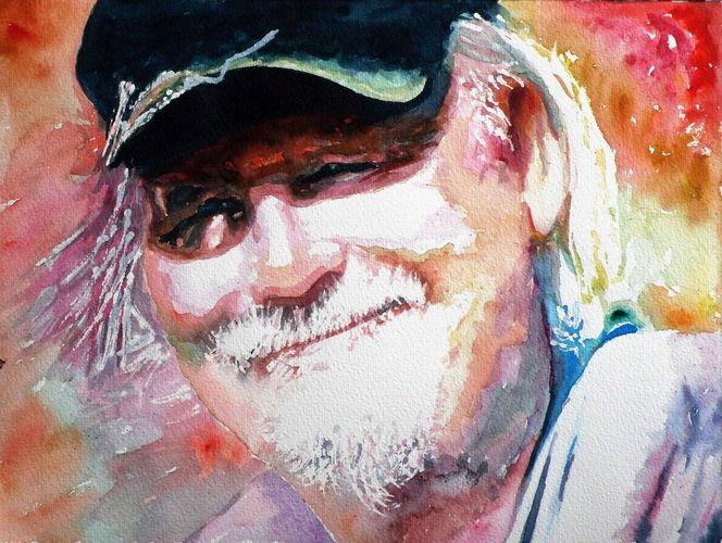 Bart, Mann, Blick, Aquarellmalerei, Ausdruck, Portrait