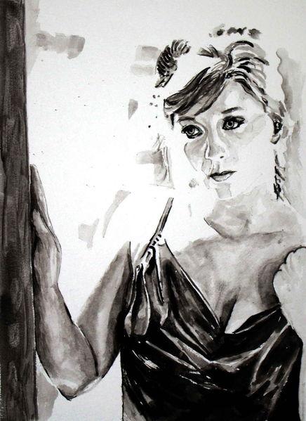 Monochrom, Aquarellmalerei, Portrait, Schwarz weiß, Frau, Blick