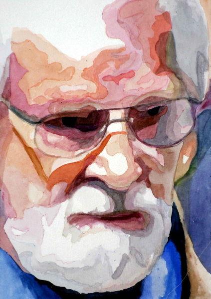 Brille, Farben, Mann, Aquarellmalerei, Blick, Portrait