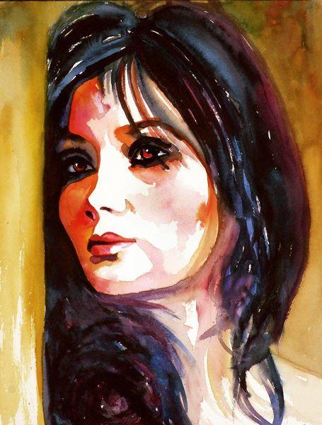 Aquarellmalerei, Portrait, Frau, Ausdruck, Gesicht, Aquarell