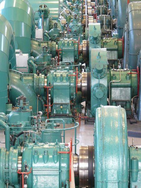 Maschine, Kraftwerk, Grün, Blau, Fotografie