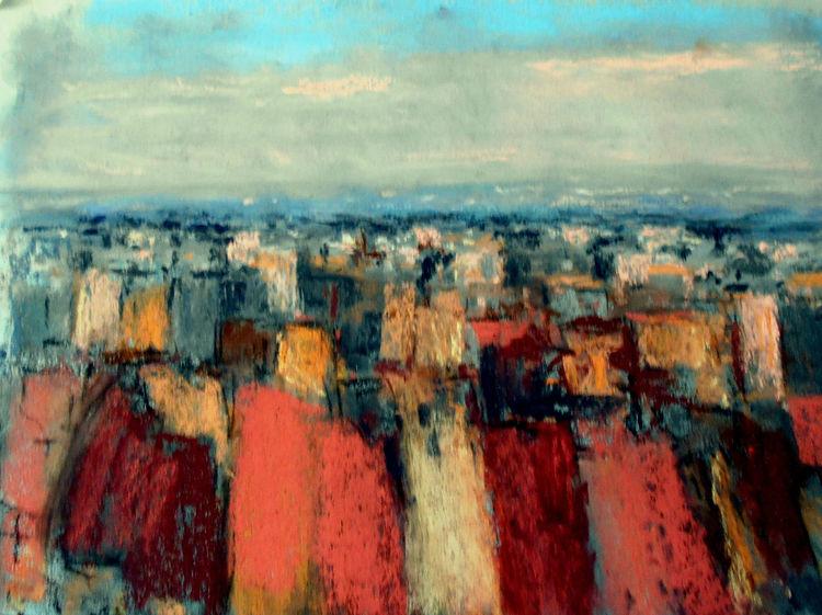 Rot, Braun, Landschaft, Blau, Abstrakt, Malerei
