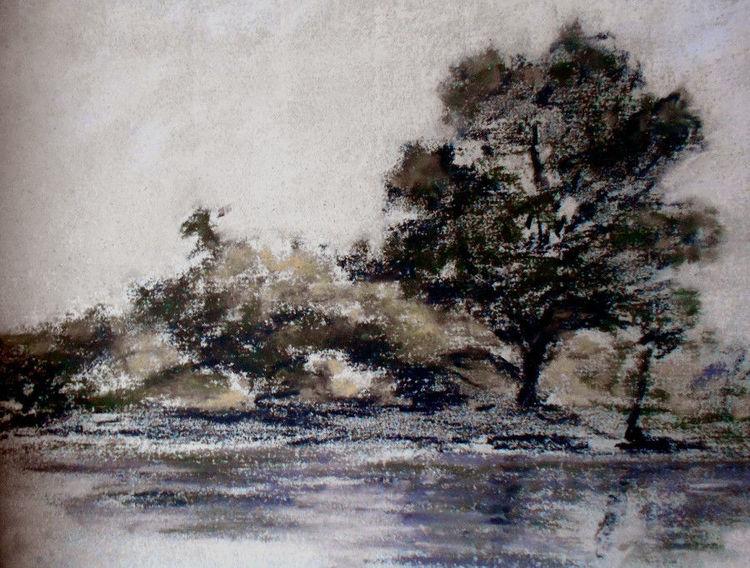 Baum, Fluss, Spiegelung, Malerei