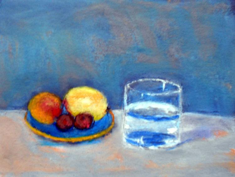 Glas, Blau, Früchte, Gelb, Rot, Malerei