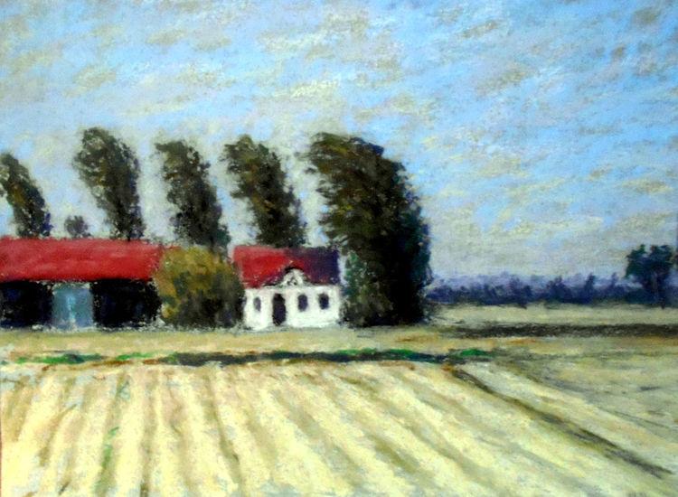 Haus, Baum, Himmel, Feld, Malerei, Landschaft