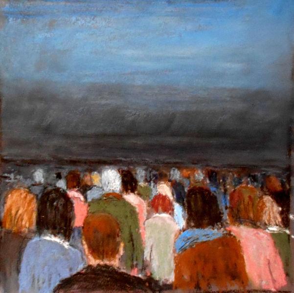 Menschen, Horizont, Düster, Perspektive, Malerei