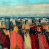 Landschaft, Blau, Abstrakt, Rot