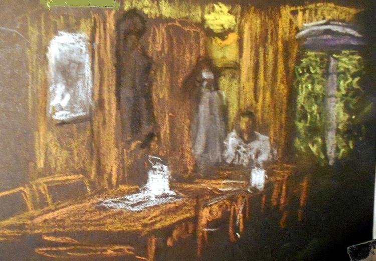 Skizze, Café, Menschen, Malerei