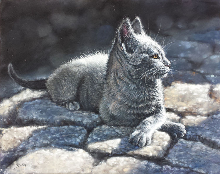Katze, Kopfsteinpflaster, Sphinx, Malerei