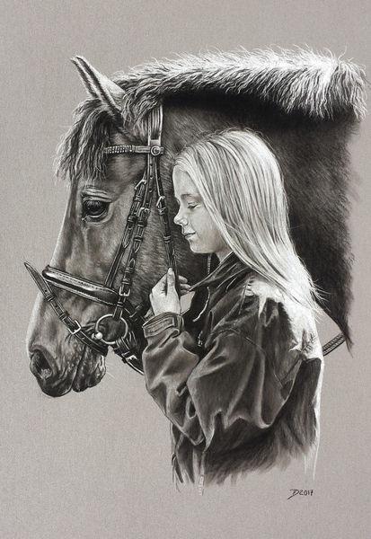 Pferde, Mädchen, Menschen, Kohlezeichnung, Pony, Zeichnungen