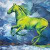 Pastellmalerei, Frühling, Galopp, Pferde