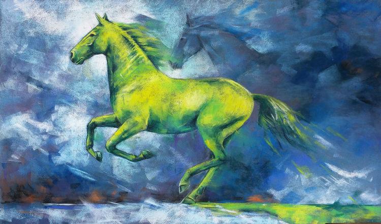 Pferde, Grün, Pastellmalerei, Frühling, Galopp, Malerei