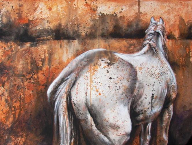 Pferde, Weiß, Malerei, Tiere,