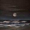 Mond, Brandung, Wasser, Acrylmalerei