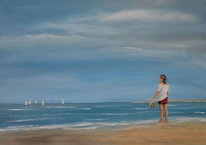Menschen, Malerei, Sand, Strand, Natur, Ferien
