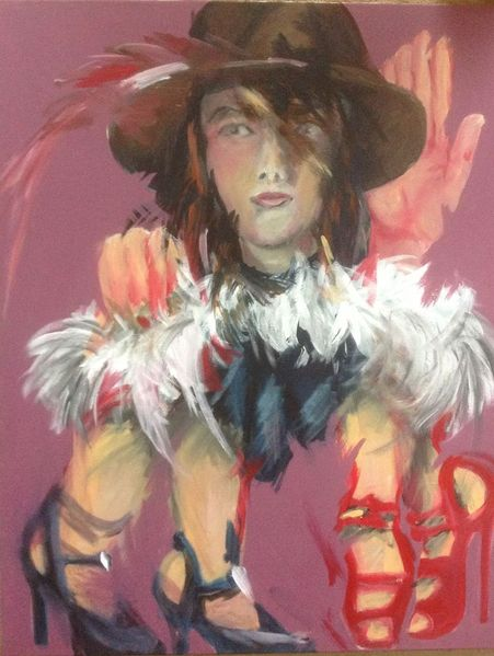 Hut, Schuhe, Frau, Malerei