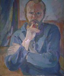 Malerei, Lothar gemmel, Selbstportrait, Gemmel