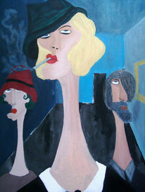 Langhals, Malerei, Blond, Zigarette