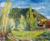 Landschaft, Albendiego, Malerei, Spanien