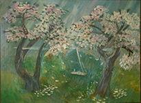 Baum, Landschaft, Schaukel, Malerei