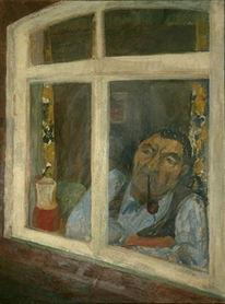Fenster, Malerei, Portrait mann fenster, Portrait