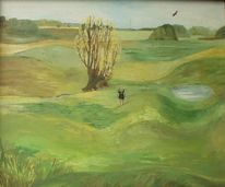 Baum, Vogel, Landschaft, Malerei