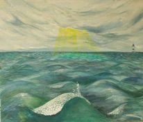 Welle, Malerei, Sonnenstrahlen, Leuchtturm