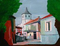Malerei, Landschaft, Dorf