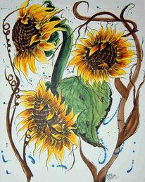 Aquarellmalerei, Sonne, Grafik, Blumen